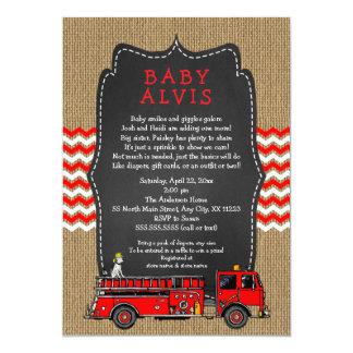 Tarjeta El bebé del coche de bomberos asperja CON la