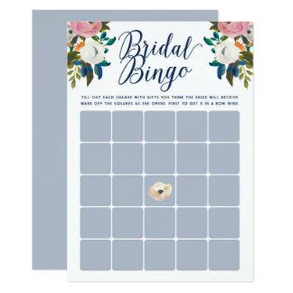 Tarjeta El bingo nupcial floral de la ducha carda azul