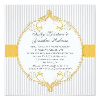 Tarjeta El blanco gris del marco amarillo raya el boda