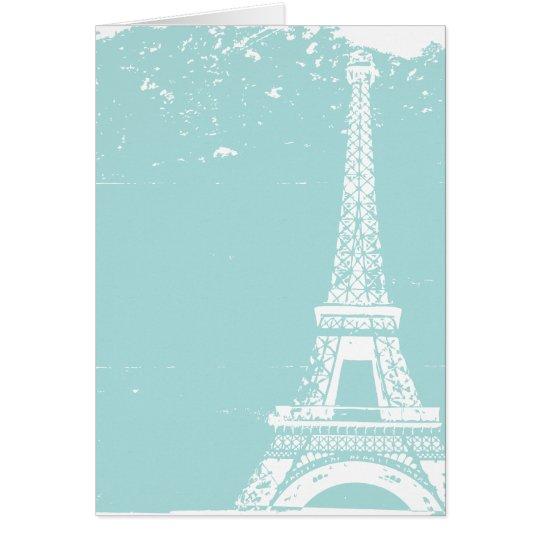 Tarjeta El boda azul de la torre Eiffel le agradece las