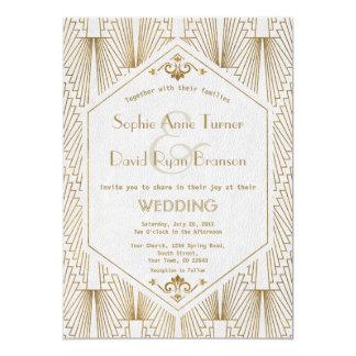 Tarjeta El boda blanco del gran de Gatsby oro del art déco