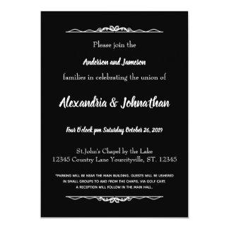 Tarjeta El boda blanco y negro del gótico invita