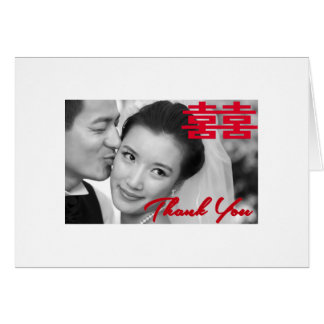 Tarjeta El boda chino de la felicidad doble de la foto le