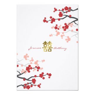 Tarjeta El boda chino de la felicidad doble roja de Sakura