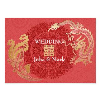 Tarjeta El boda chino moderno de Dragón-Phoenix invita a