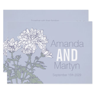 Tarjeta El boda de la flor blanca del crisantemo del boda