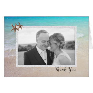 Tarjeta El boda de la foto de los pares de la playa le