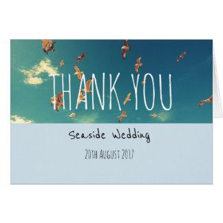 Tarjeta El boda de la playa le agradece cardar