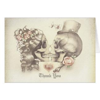 Tarjeta El boda de los pares del cráneo le agradece las