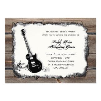 Tarjeta El boda de madera de la música de la guitarra