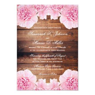 Tarjeta El boda de madera del rosa del granero rústico de