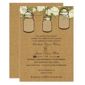 Tarjeta el boda de marfil del tarro de albañil de la