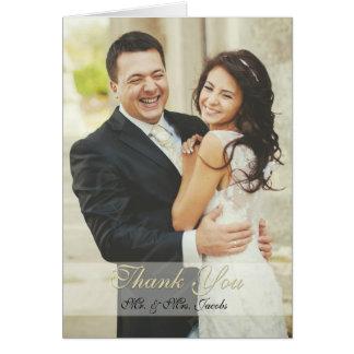 Tarjeta El boda de marfil elegante de la foto le agradece