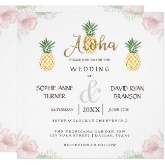 Tarjeta El boda de playa tropical de la piña de la