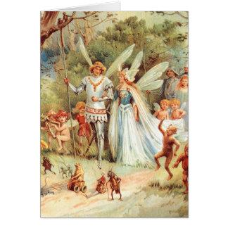 Tarjeta El boda de Thumbelina en el bosque