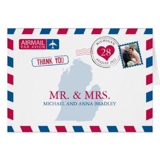 Tarjeta El boda del correo aéreo de Michigan los E.E.U.U.