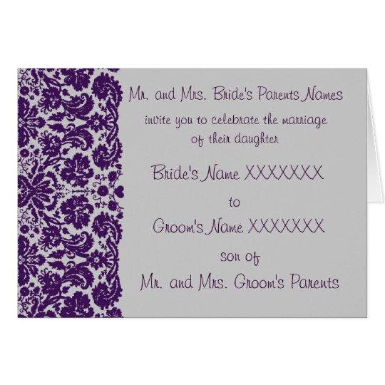 Tarjeta El boda del damasco Invitación-Elige el fondo
