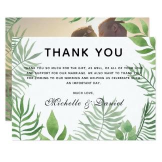 Tarjeta El boda del follaje de la acuarela le agradece