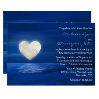 Tarjeta El boda del invierno de la luna del corazón y de