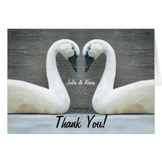 Tarjeta El boda del país del cisne agradece Yous