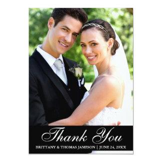 Tarjeta El boda elegante le agradece foto BW de la novia y