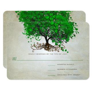 Tarjeta El boda esmeralda del árbol de la hoja del corazón