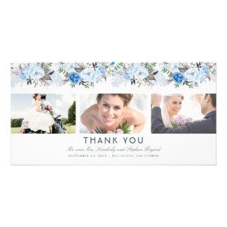 Tarjeta El boda floral azul polvoriento le agradece foto