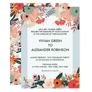 Tarjeta El boda floral de Anya invita a los sobres blancos