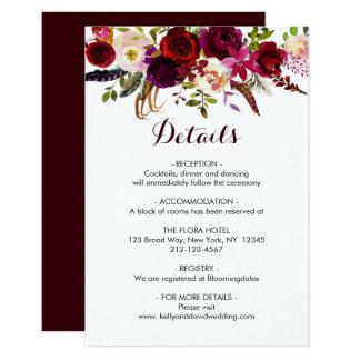 Tarjeta El boda floral de Boho Borgoña Marsala detalla el
