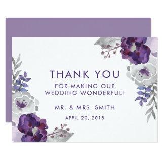 Tarjeta El boda floral de la acuarela púrpura le agradece