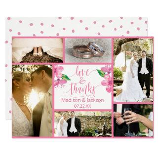 Tarjeta El boda floral de la acuarela rosada le agradece