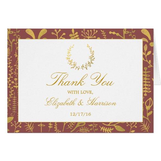 Tarjeta El boda floral de la guirnalda del oro elegante le