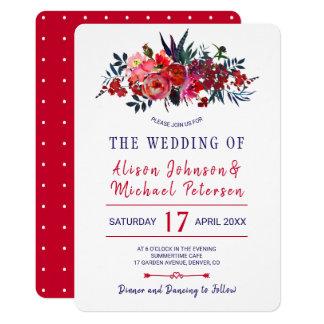 Tarjeta El boda floral de la marina de guerra roja bohemia
