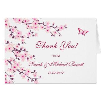 Tarjeta El boda floral de las flores de cerezo le agradece