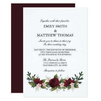Tarjeta El boda floral del invierno de Marsala invita