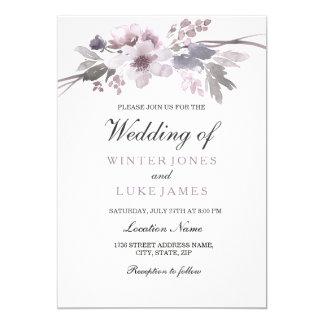 Tarjeta El boda floral del invierno gris púrpura elegante