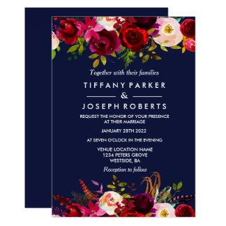 Tarjeta El boda floral elegante de Borgoña de los azules