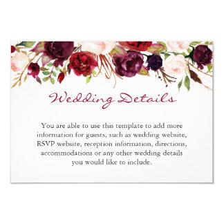 Tarjeta El boda floral rojo de Borgoña Marsala detalla el