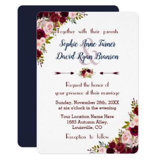 Tarjeta El boda floral rústico de los azules marinos de
