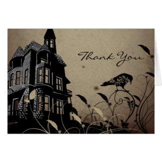 Tarjeta El boda gótico de la casa del vintage le agradece