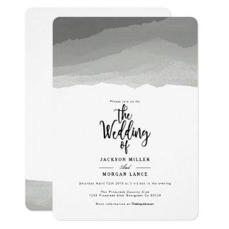 Tarjeta El boda gris de la acuarela de las montañas el  