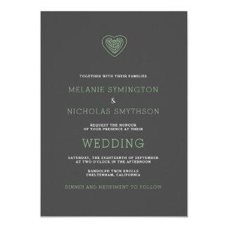 Tarjeta El boda irlandés del corazón céltico moderno