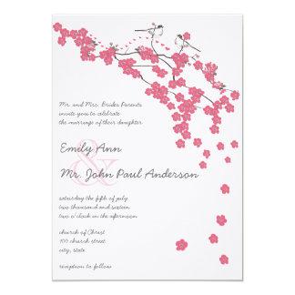 Tarjeta El boda japonés de la flor de cerezo del vintage