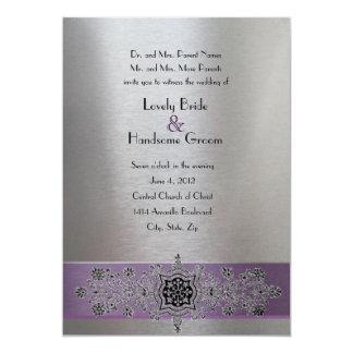 Tarjeta El boda metálico de plata púrpura de la torre