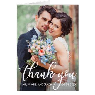 Tarjeta El boda moderno le agradece nota de la foto del