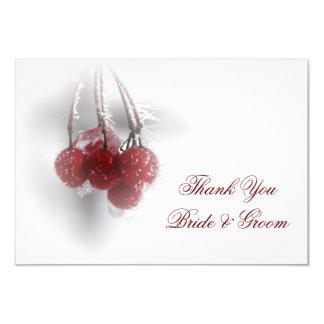Tarjeta El boda rojo del invierno de las bayas le agradece