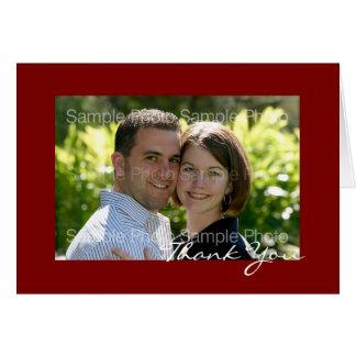 Tarjeta El boda rojo personalizado de la foto le agradece