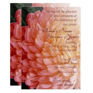 Tarjeta El boda rosado del crisantemo de la acuarela