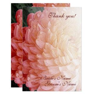 Tarjeta El boda rosado del crisantemo de la acuarela le