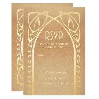 Tarjeta El boda RSVP carda el vintage Nouveau del |